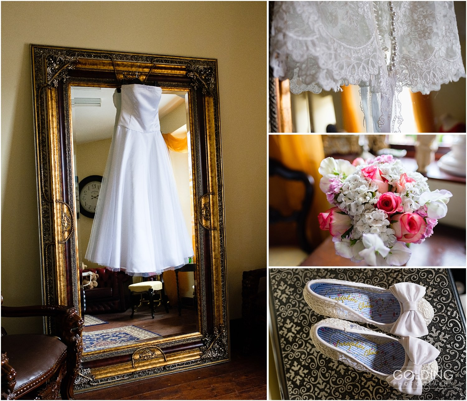 Rebecca's wedding dress, bouquet and shoes