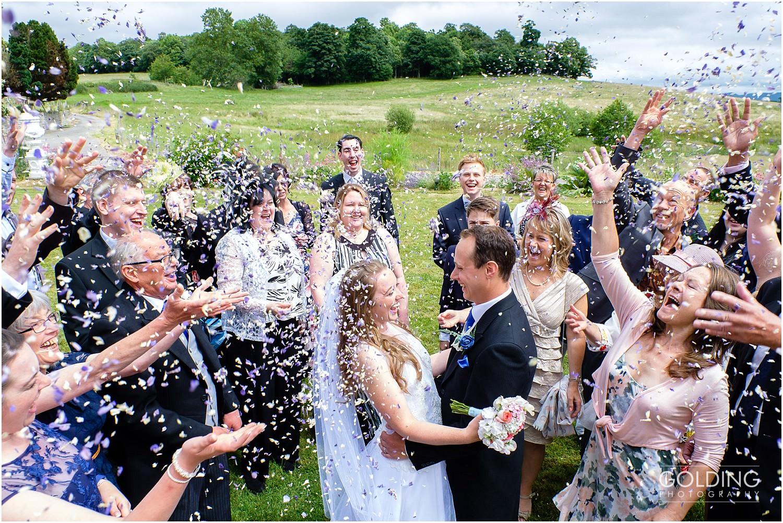Eriviat Hall Wedding photographer - confetti shot